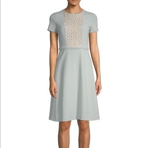 MaxMara sky blue embroidered A-line dress sz. 10